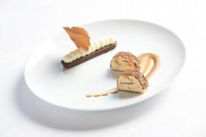 キャラメルナッツのセミフレッド ケーク オ カフェとフロマージュブランクリーム